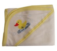 Hooded Towel with Yellow Binding and Screen Prints