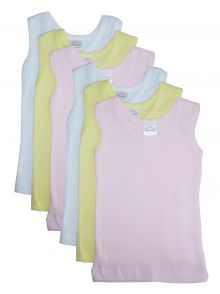 Bambini Girls's Six Pack Pastel Tank Top (Size: Large)