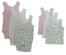 Bambini Girls Printed Tank Top Variety 6 Pack (Size: Large)