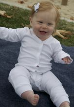 Interlock White Union Suit Long Johns (Size: Newborn)