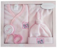 Bambini 4 Piece Fleece Set - Pink (Size: Newborn)