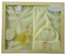 Bambini 4 Piece Fleece Set - Yellow (Size: Newborn)
