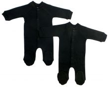 Bambini Black Interlock Sleep & Play (Pack of 2) (Size: Large)